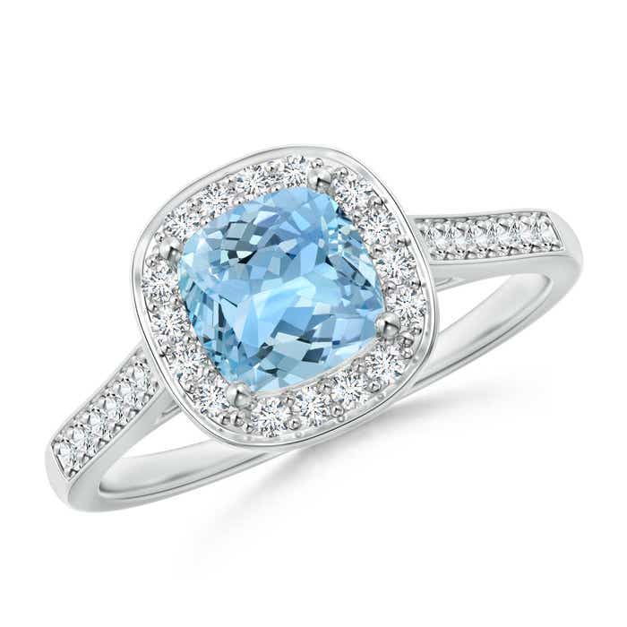 Angara Vintage Inspired Diamond Halo Cushion Aquamarine Ring D0xwlEChd