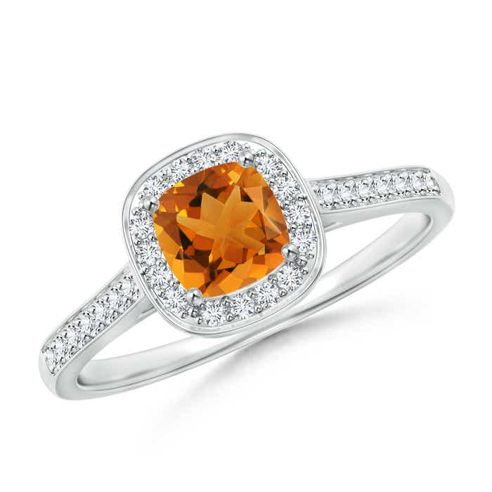 Angara Vintage Cushion Citrine Halo Ring with Diamond Halo in 14K Rose Gold Csse9uBB