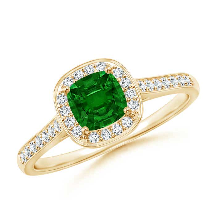 Angara Diamond Split Shank Natural Emerald Halo Ring in Yellow Gold
