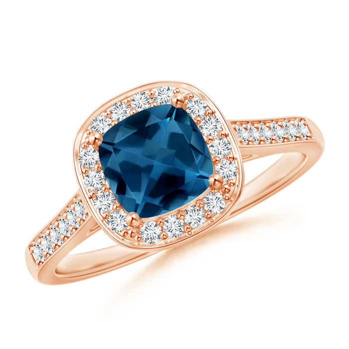 Angara Cushion London Blue Topaz Ring with Floral Halo