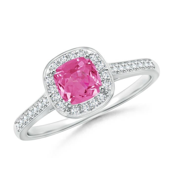 Angara Diamond Halo Cushion Pink Sapphire Ring in 14k Rose Gold p9DnJsXS1T