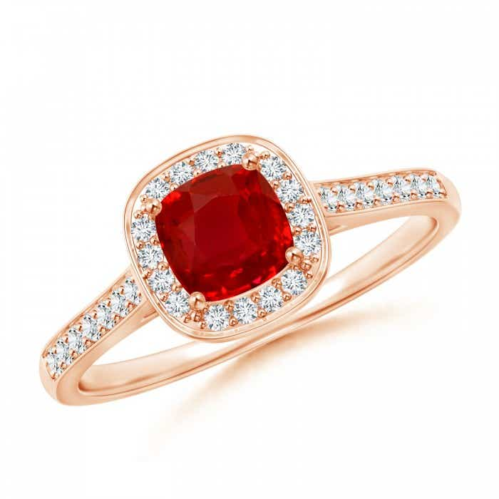 Angara Bezel Set Cushion-Cut Ruby Solitaire Ring in 14k Rose Gold cmNRPk