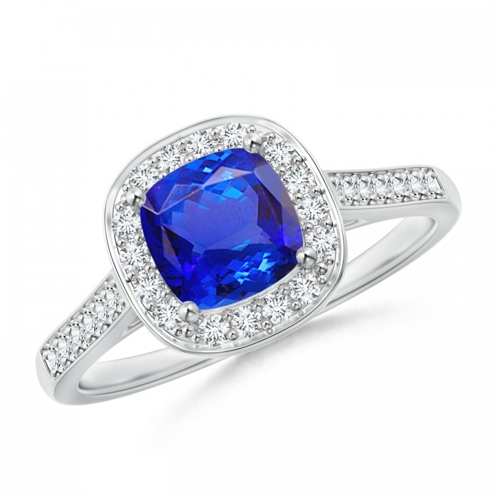 Angara Cushion Tanzanite Halo Engagement Ring in 14k Yellow Gold SKBuSXG