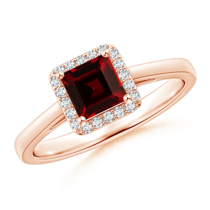Angara Milgrain-Edged Square Garnet and Diamond Halo Ring FNRYY4
