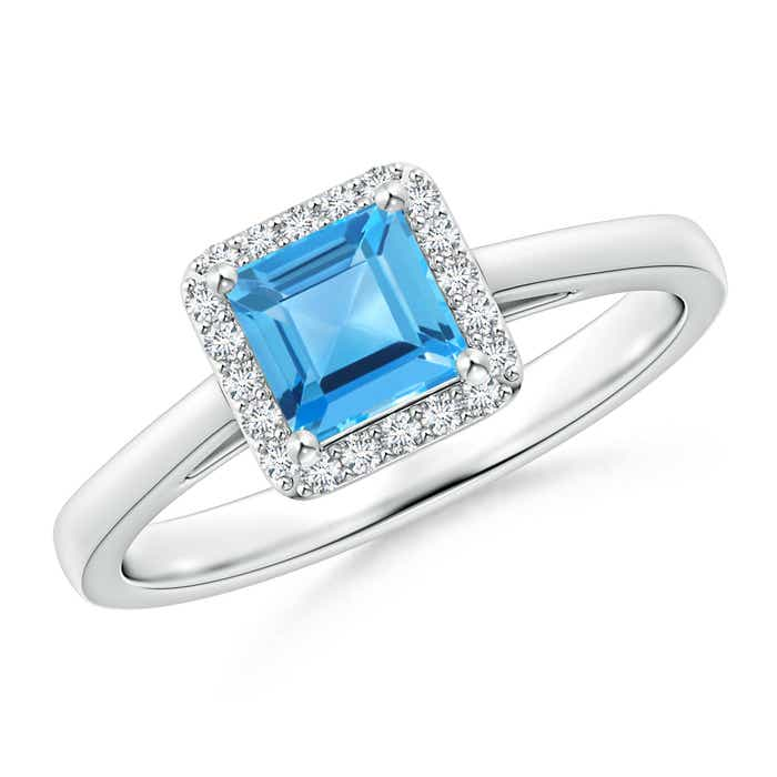 Angara Classic Square Swiss Blue Topaz and Diamond Halo Ring in Rose Gold IMmpJCa