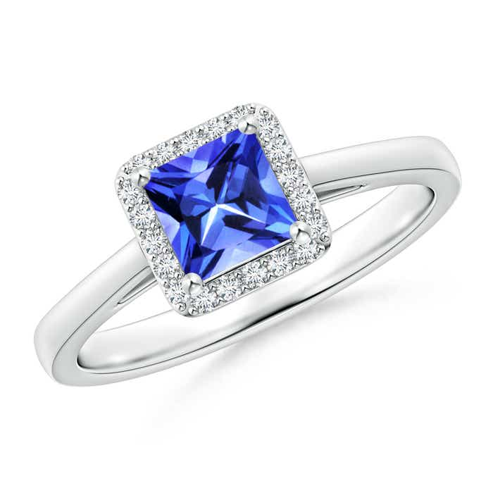 Angara Tanzanite Split Shank Ring Set with Diamond Band in Yellow Gold CiUtl