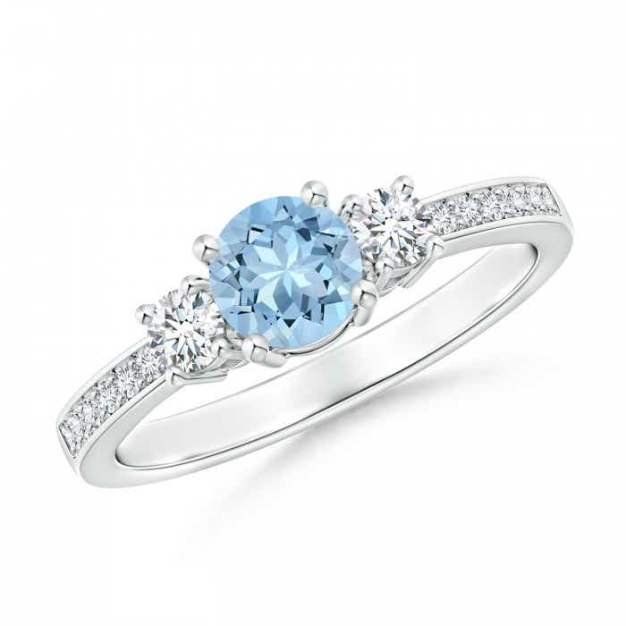 Angara Aquamarine Diamond Three Stone Engagement Ring in Rose Gold HAoynQ