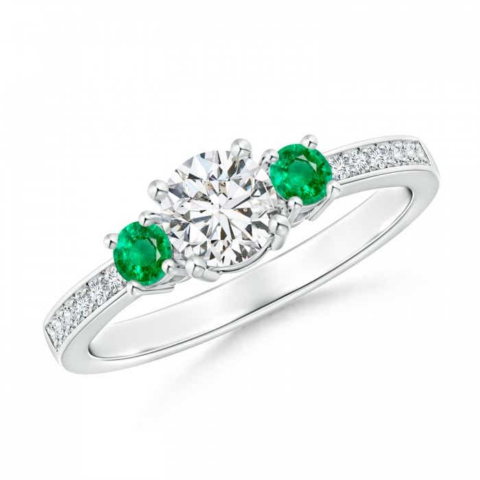 Angara Round Three Stone Emerald Ring With Diamond Accents in Platinum Nj3MJg