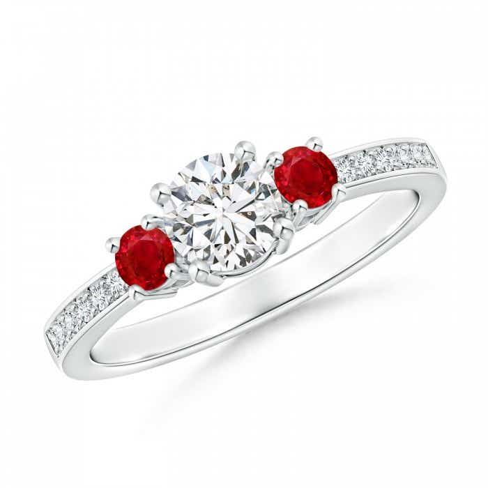 Angara Diamond and Ruby Three Stone Ring in Rose Gold ClOiMO