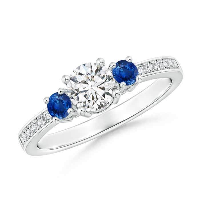 Angara Classic Three Stone Blue Sapphire Cathedral Ring in 14k Yellow Gold y5ADiBcZ