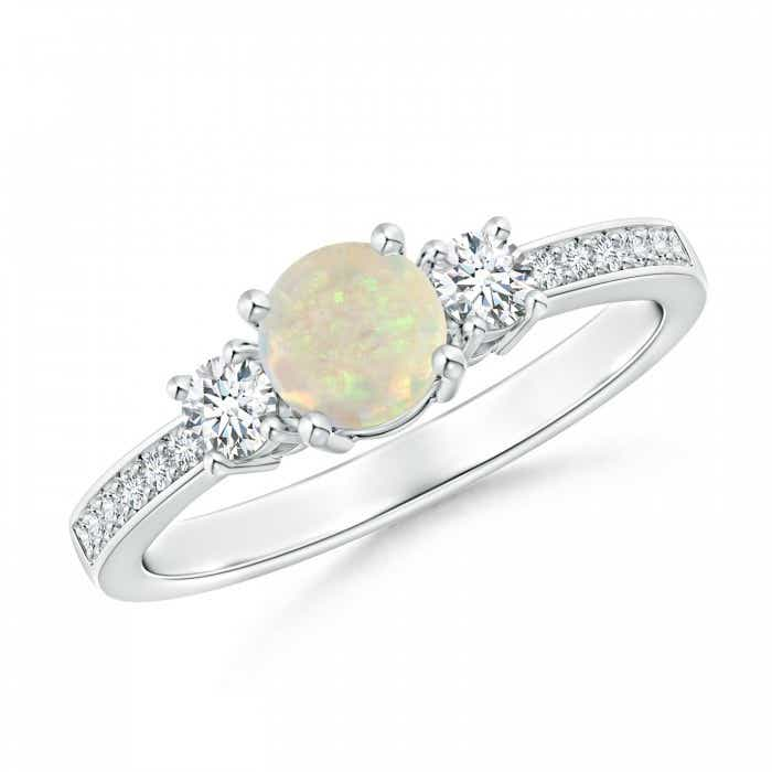 Angara Three Stone Opal and Diamond Ring in Yellow Gold