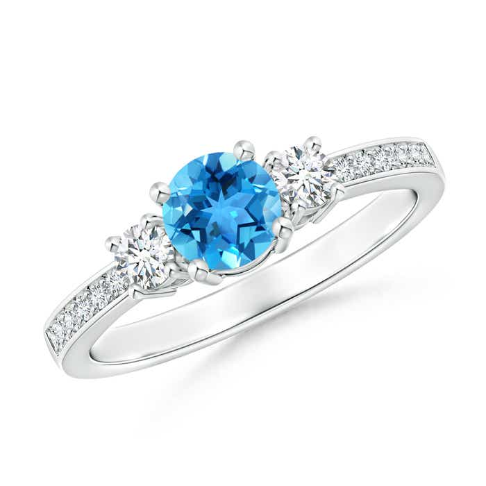 Angara Swiss Blue Topaz Ring with Diamond Halo in Platinum