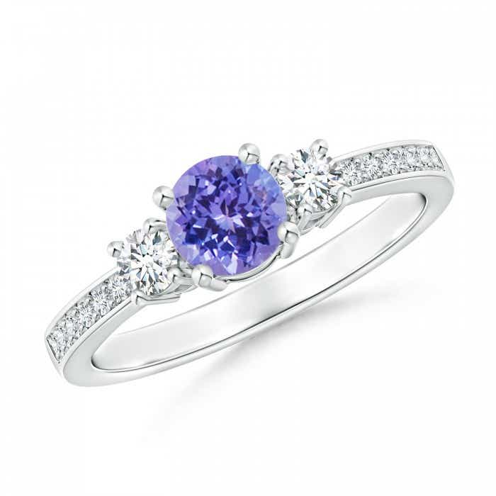Angara Classic Three Stone Tanzanite and Diamond Ring RhdSgAg