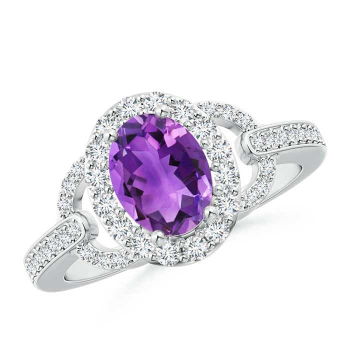Angara Vintage Style Amethyst and Diamond Ring in Yellow Gold