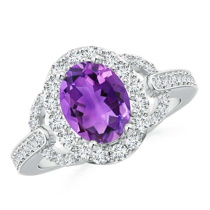Angara Vintage Inspired Oval Amethyst Halo Ring with Diamond Accents FZ7O09Ei3