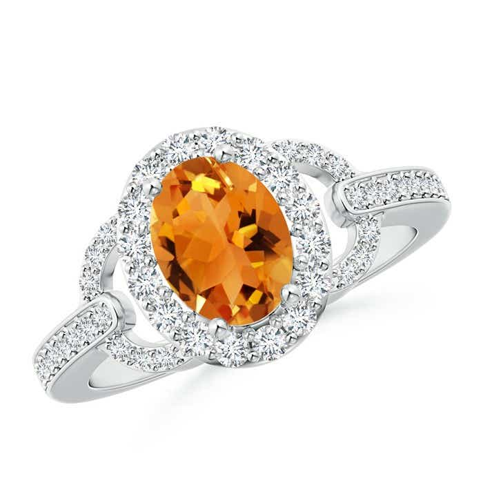 Angara Oval Citrine Solitaire Ring with Pave Diamonds in 14K Yellow Gold