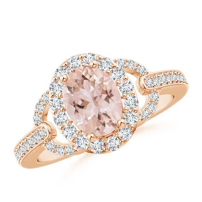 Angara Oval Morganite Scroll Engagement Ring with Diamond Halo