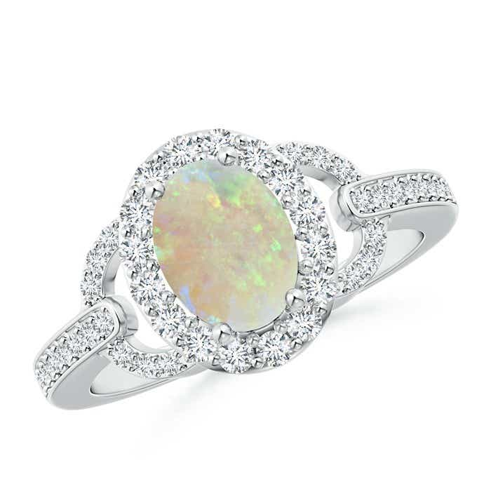 Angara Opal Engagement Ring with Diamond Halo in Platinum