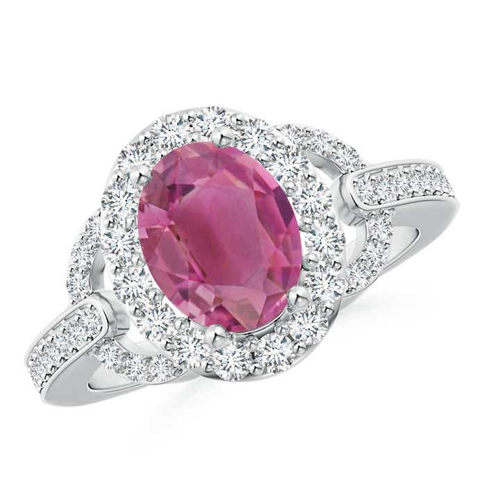 Angara Vintage Inspired Oval Pink Tourmaline Halo Ring in 14K White Gold Aj7V2EScpq