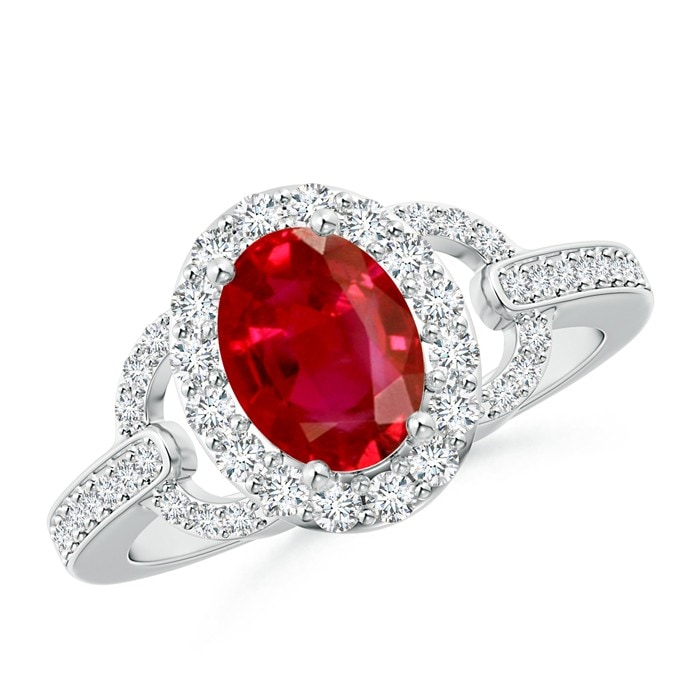 Angara Prong Set Oval Ruby Halo Ring in Yellow Gold b113Ntnw6
