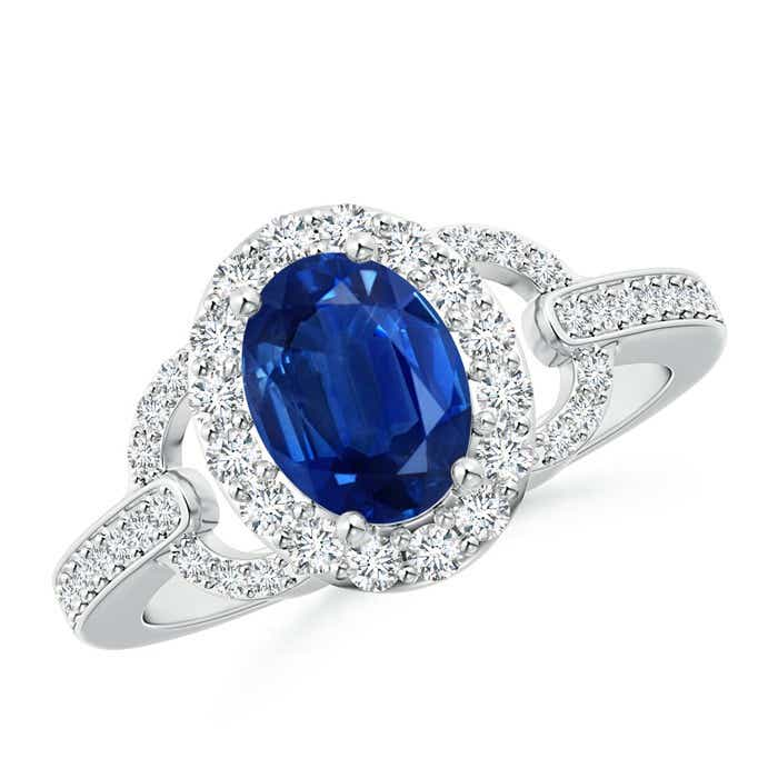 Angara Prong Set Oval Blue Sapphire Halo Ring with Diamond