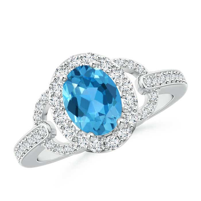 Angara Oval Solitaire Swiss Blue Topaz Vintage Ring in White Gold k1sbo3Qusi