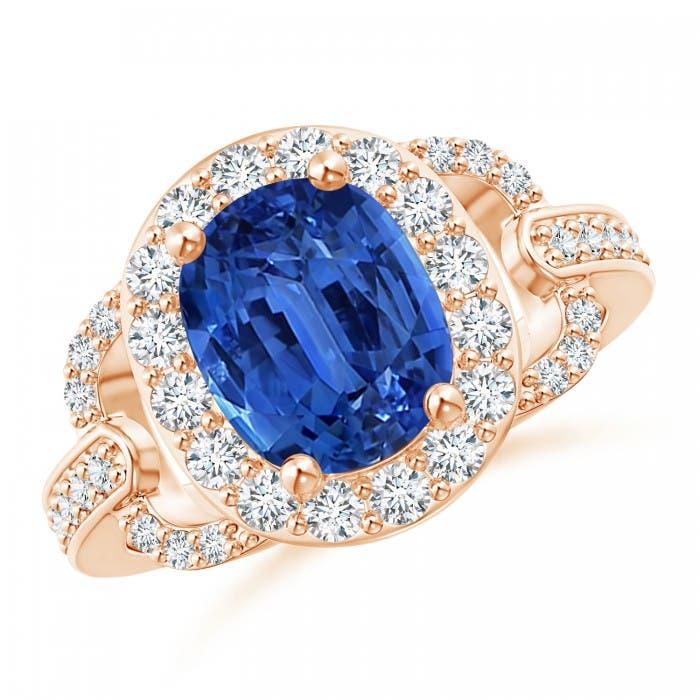 Angara Vintage Style GIA Certified Sri Lankan Sapphire Halo Ring pQaQ1A
