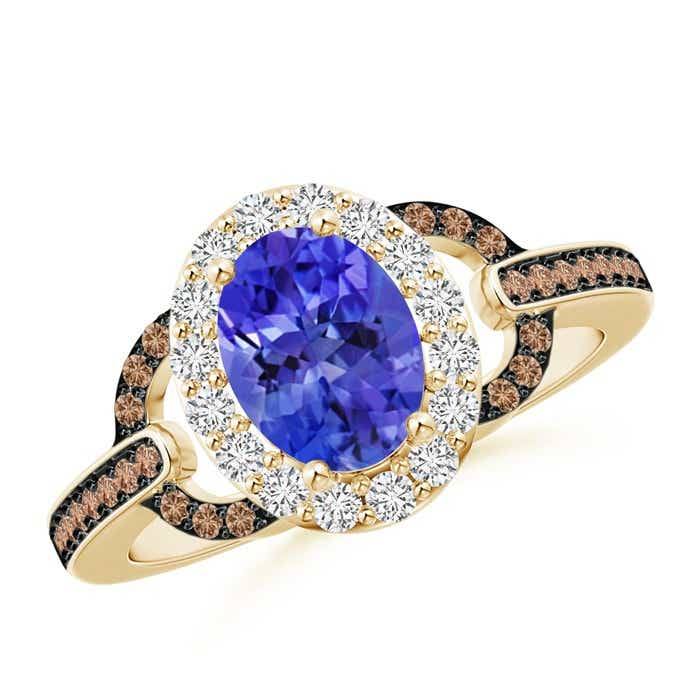 Angara Vintage Inspired Tanzanite and Diamond Halo Ring in 14k Yellow Gold SUMlbKi