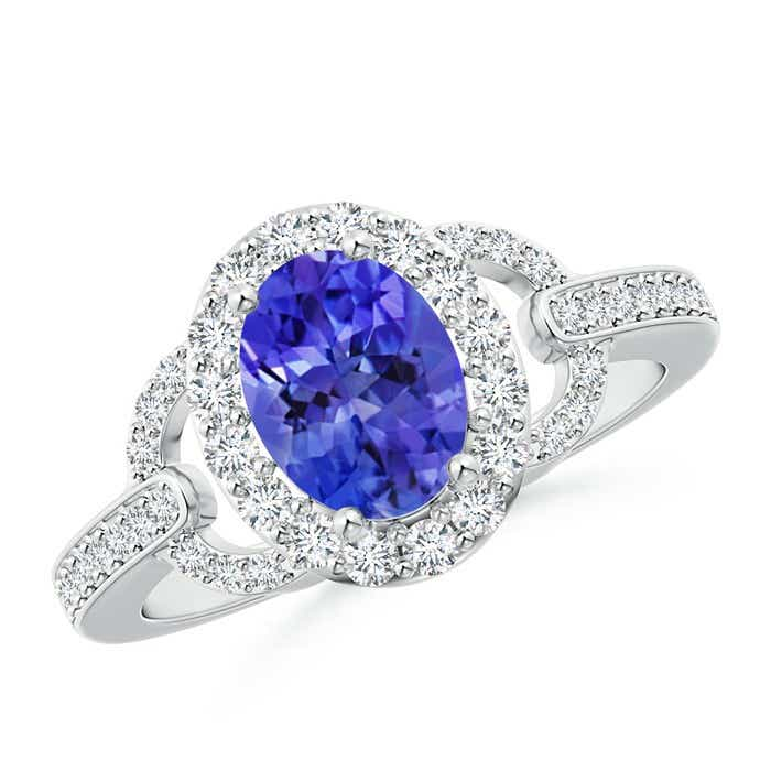 Angara Oval Tanzanite and Diamond Floral Vintage Ring in White Gold ZjiFVBZp