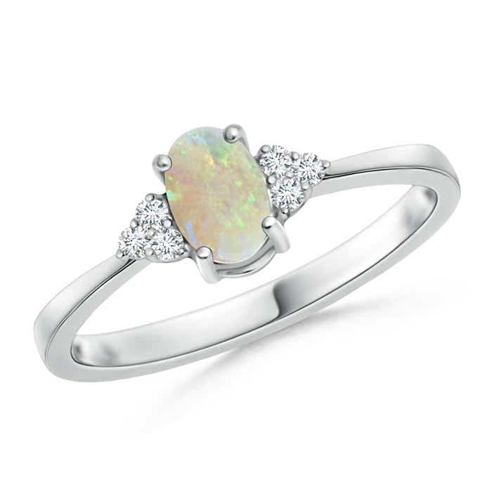Angara Oval Opal Ring with Trio Diamond Accents in White Gold seFcrZR