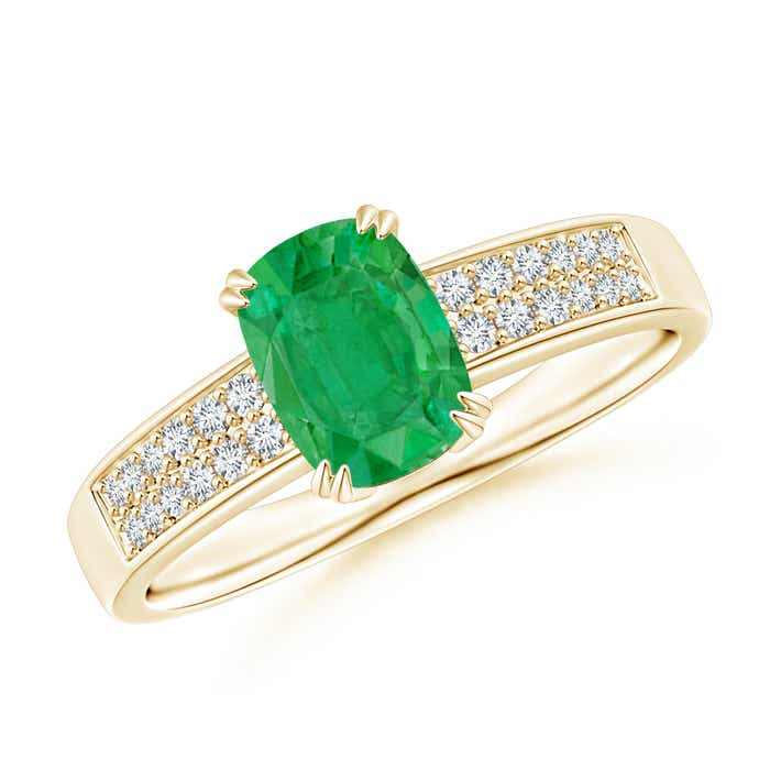 Angara Diamond Halo Emerald-Cut Natural Emerald Cocktail Ring in White Gold WOUowAPnIb