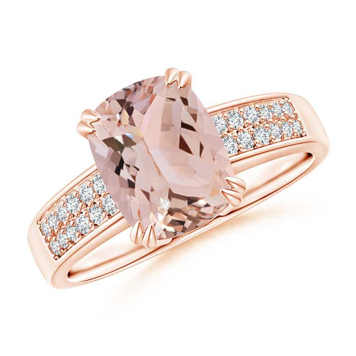 Angara Morganite Ring - Cushion Morganite Crossover Ring with Diamond Accents cynJPcrzN