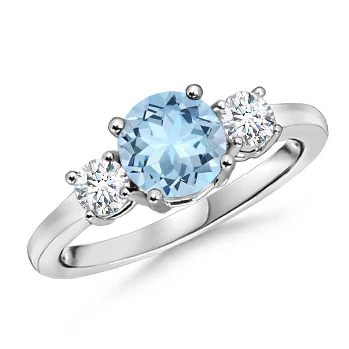 Angara Three Stone Aquamarine and Diamond Ring in White Gold