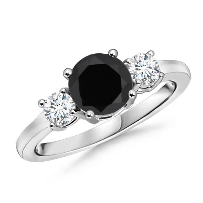 Angara Prong Set Black Onyx Three Stone Ring in Yellow Gold m4gCHDOM