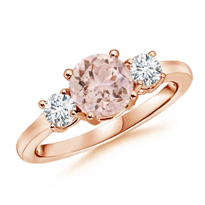 Angara Three Stone Morganite Diamond Ring in Platinum