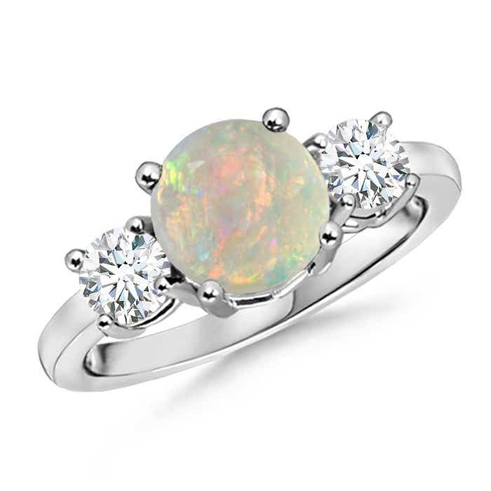 Angara Natural Opal and Diamond Three Stone Ring in White Gold FuMn7C3Kq