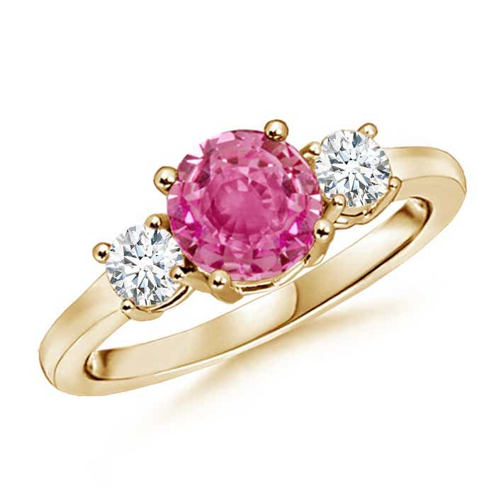 Angara Three Stone Pink Sapphire Diamond Engagement Ring in Yellow Gold jnpwyf