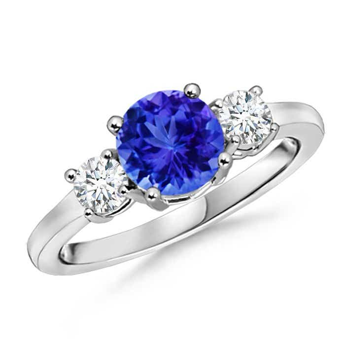 Angara Oval Tanzanite and Diamond Three Stone Ring in Platinum veCNpYO9U