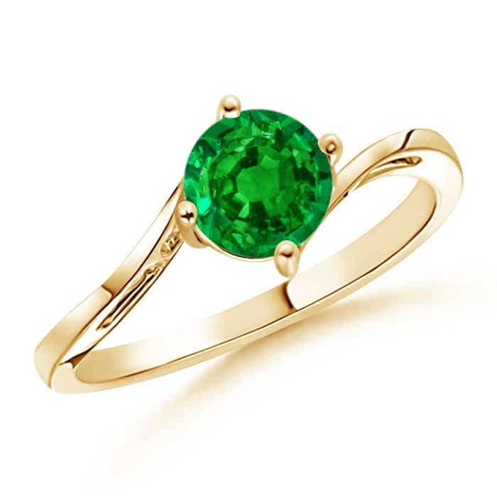 Angara Round Two Stone Emerald Bypass Ring U0OMF7W
