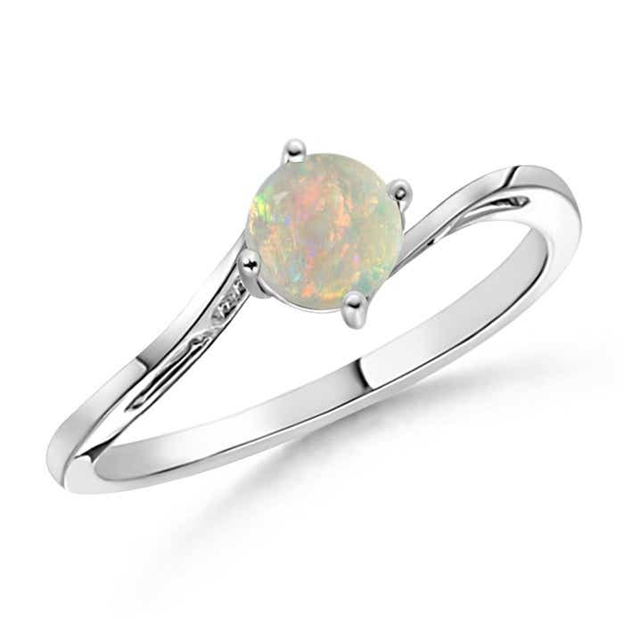 Angara Tapered Shank Opal Solitaire Ring with Diamond Accent