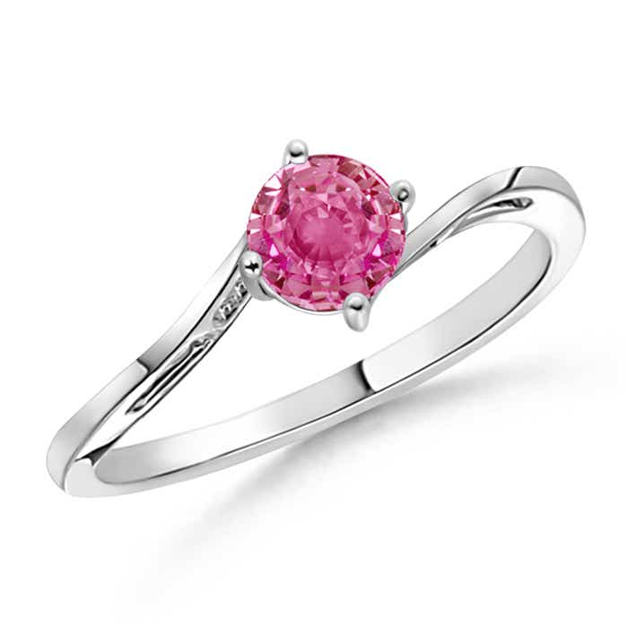 Angara Solitaire Pink Sapphire Bypass Ring with Diamond in Platinum