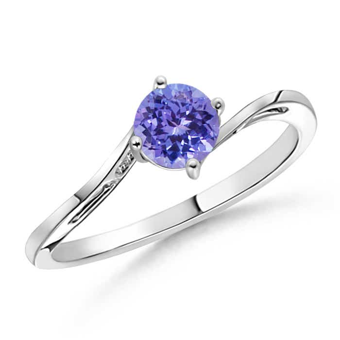 Angara Prong Set Round Tanzanite Curved Shank Ring in 14k White Gold NN7cg