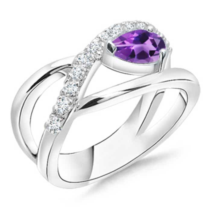 Angara Pear Shaped Amethyst Ring with Diamond Halo