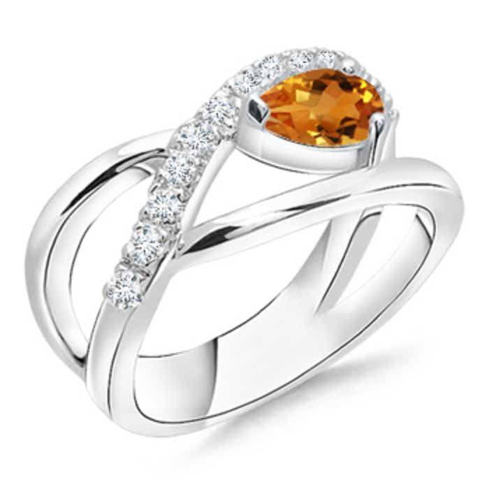 Angara Criss Cross Pear Shaped Citrine Ring in 14K Yellow Gold Bi2RbZG84