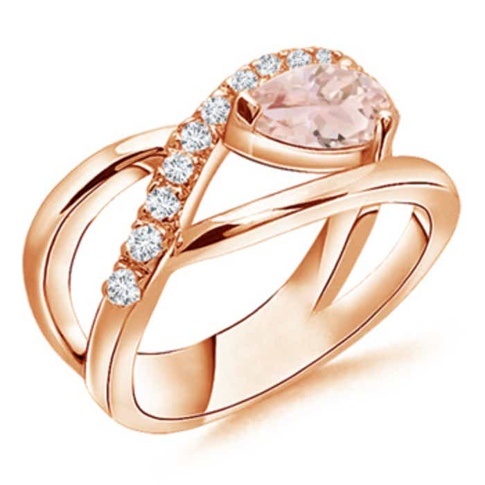 Angara Pear Shaped Morganite Double Halo Ring in Yellow Gold 82cgBFo