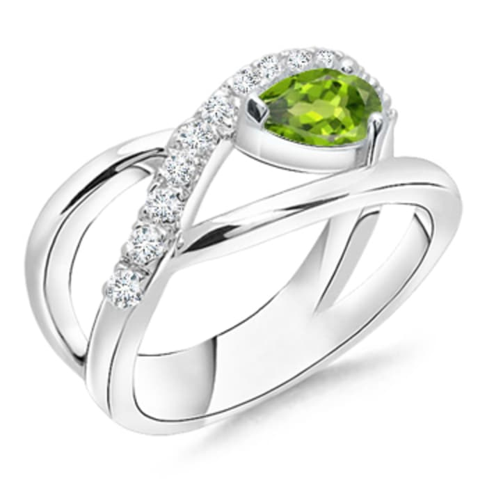 Angara Criss Cross Pear Shaped Peridot Ring with Diamond Accents f8czeiemO