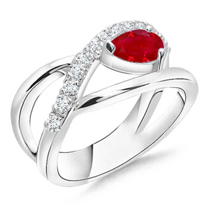 Angara Solitaire Pear Ruby Criss Cross Ring with Diamond in 14k White Gold Rly5af