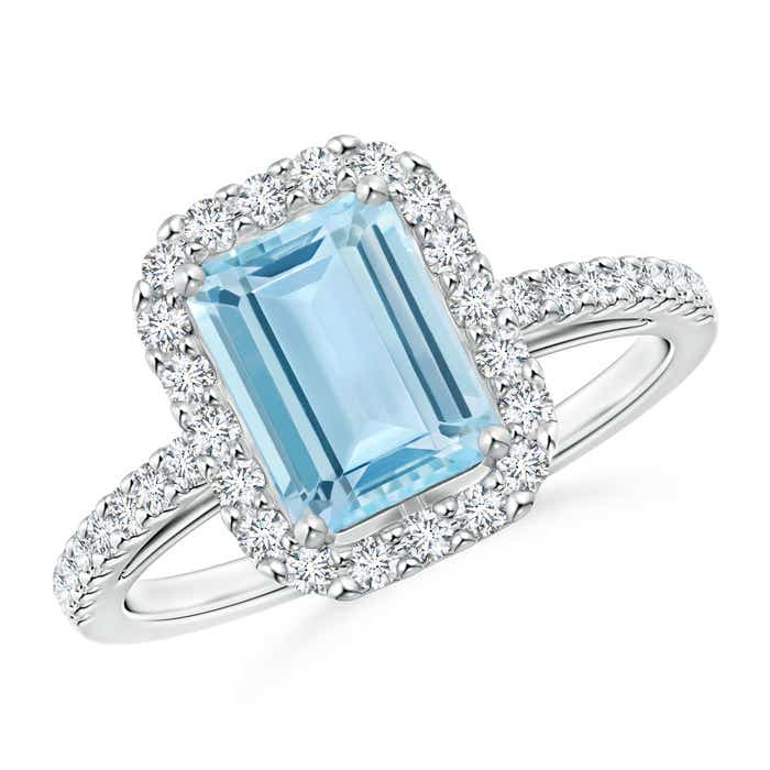 Angara Emerald-Cut Aquamarine Halo Cocktail Ring with Diamond in White Gold rBxhsDDHAj