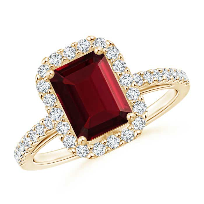 Angara Vintage Garnet Cocktail Ring in Platinum Q340kD