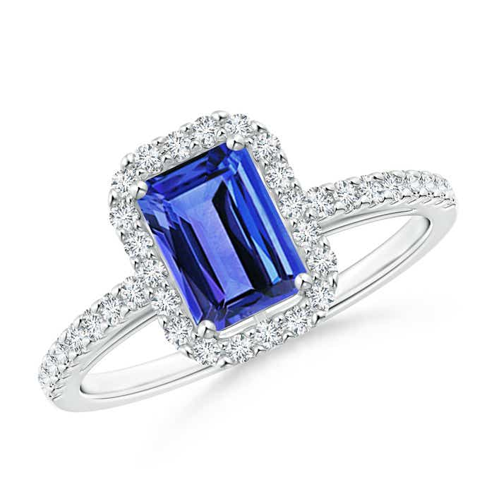 Angara Emerald Cut Tanzanite Diamond Halo Engagement Ring in Platinum alR3FMr